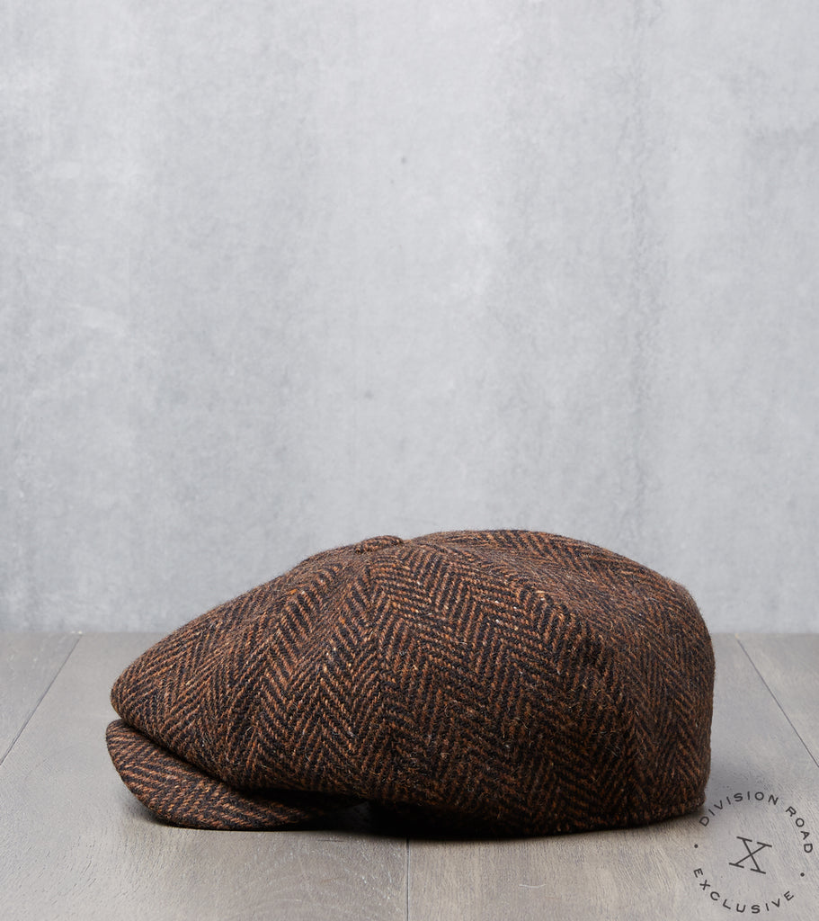 Division Road Bates Gentleman's Hatter Gatsby Cap - Magee Donegal Herringbone Tweed Brown