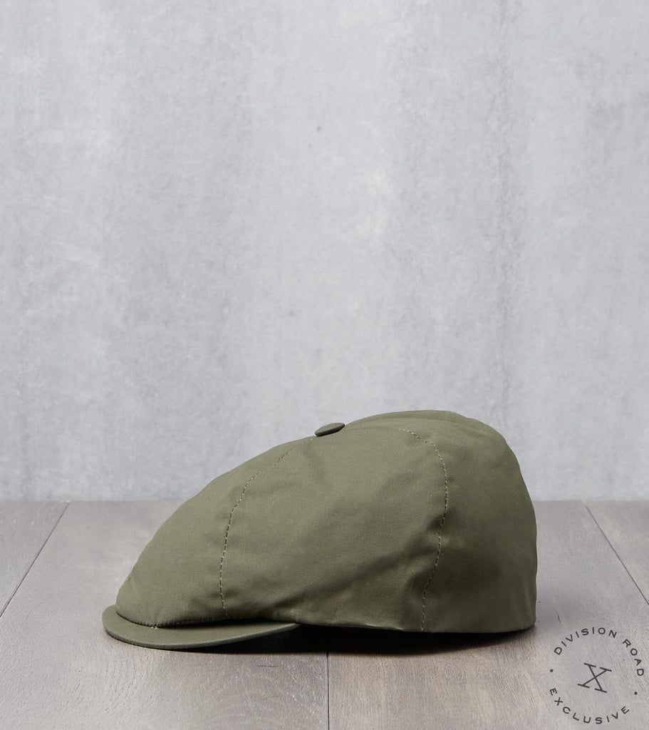 Division Road Bates Gentleman's Hatter Toni Cap - British Millerain Dry Waxed Canvas Olive