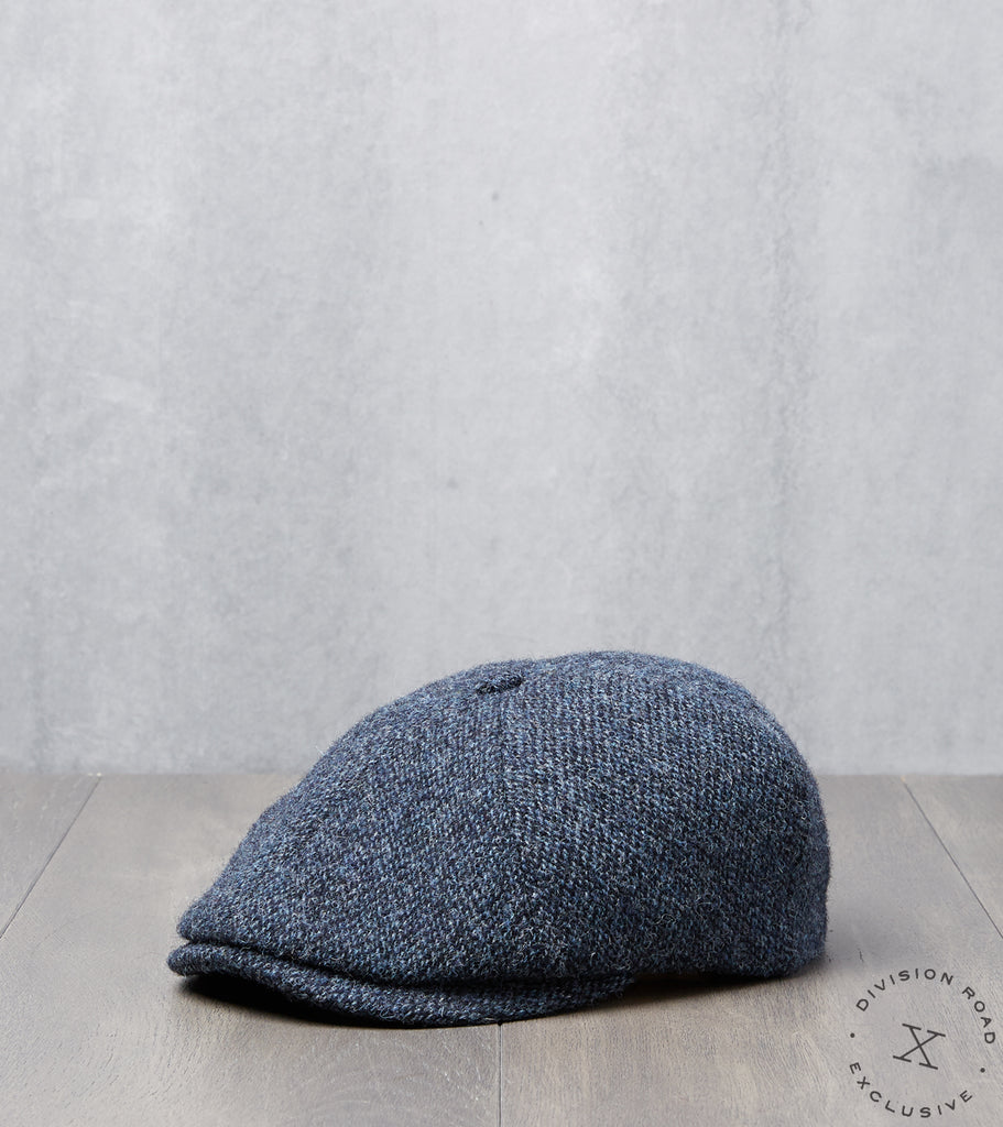 Division Road Bates Gentleman's Hatter Toni Cap - Harris Tweed - Navy