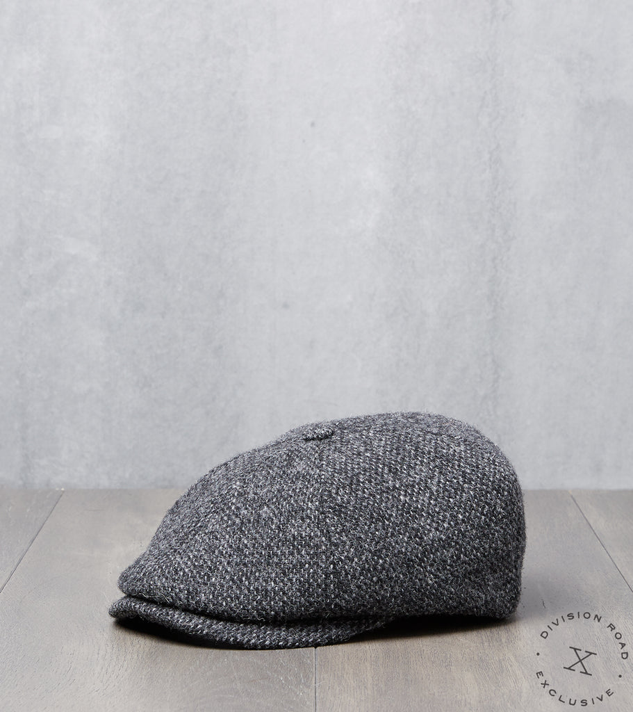 Division Road Bates Gentleman's Hatter Toni Cap - Harris Tweed - Grey