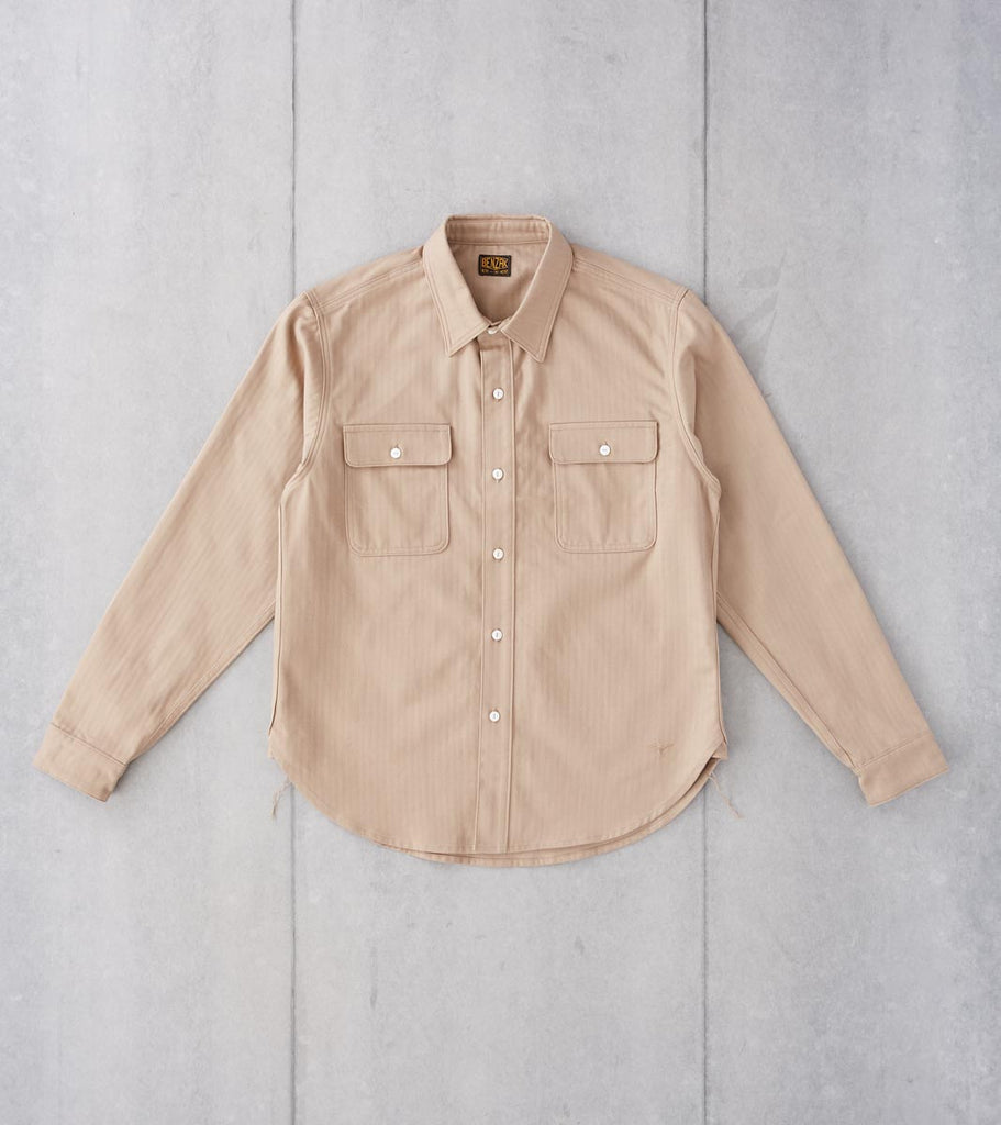 Division Road Benzak BWS-01 - Work Shirt - 8oz Sand Herringbone Twill