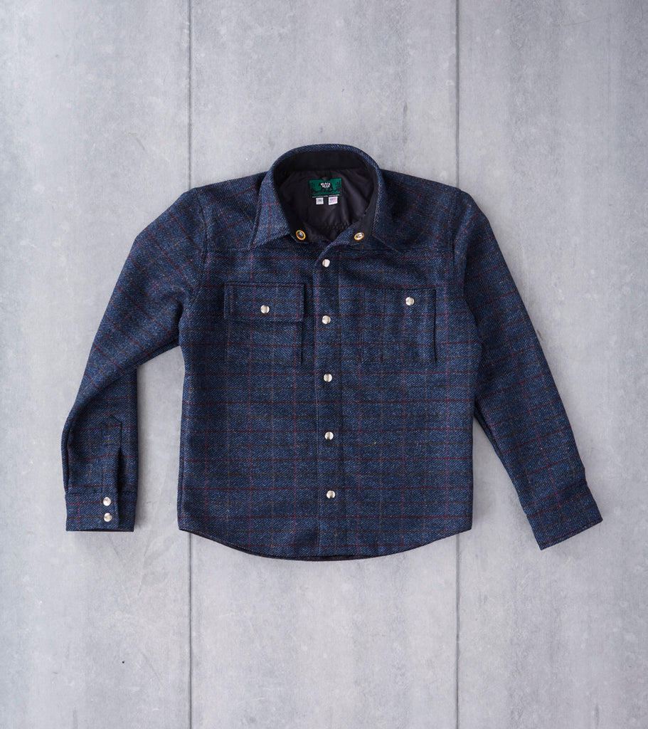 Black Bear Brand Signature Shirt Jacket - Harris Tweed - Navy Check Plaid Division Road