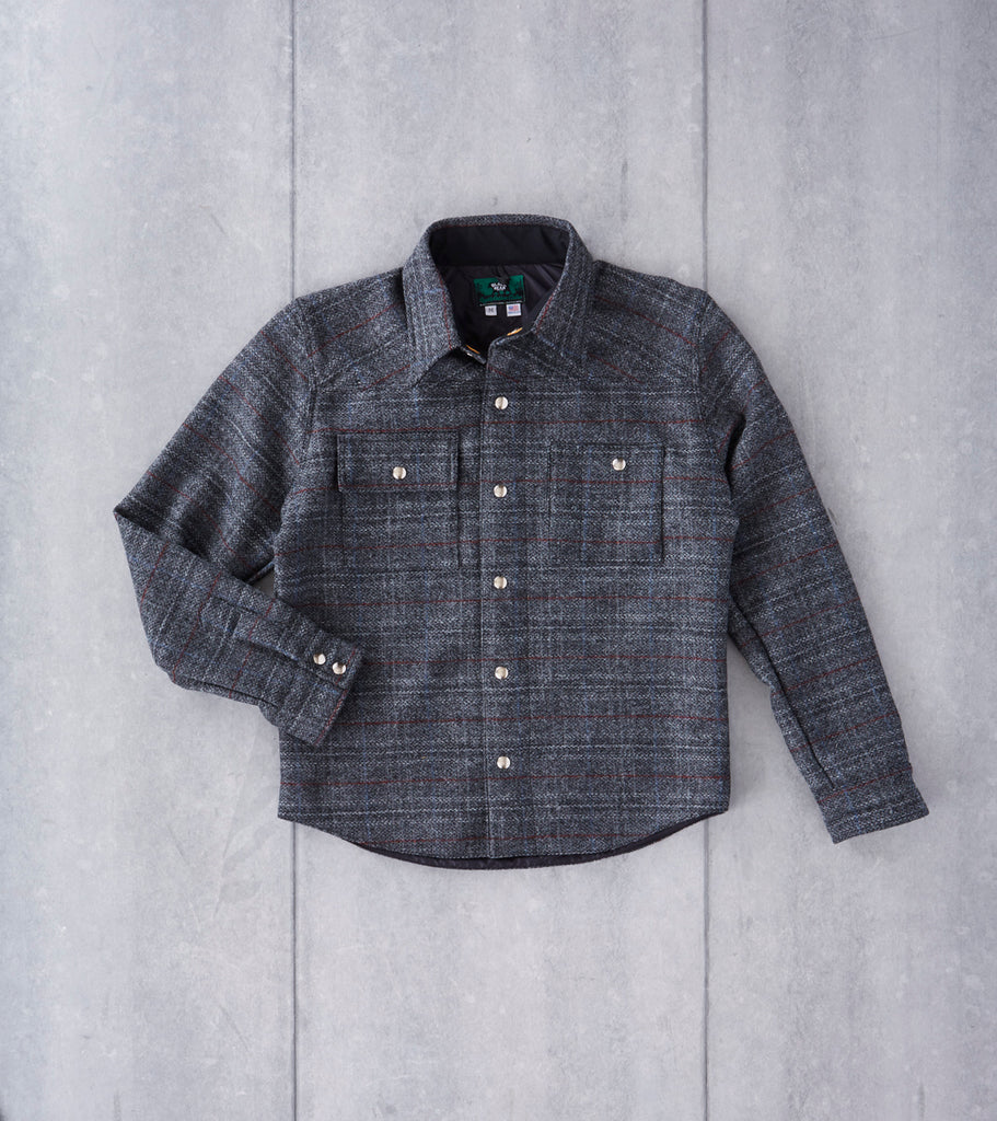 Black Bear Brand Signature Shirt Jacket - Harris Tweed - Grey Check Plaid Division Road