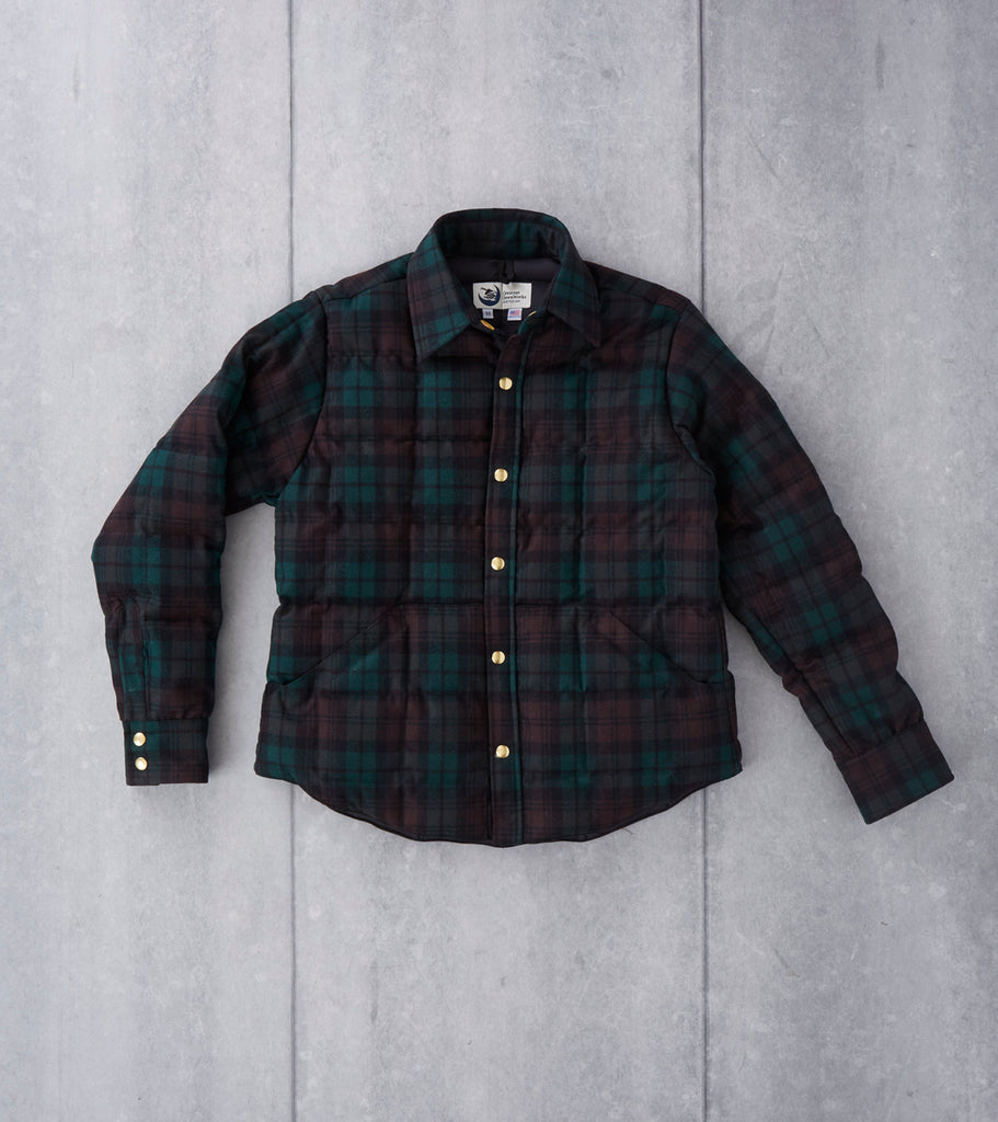 Crescent Down Works Down Shirt Jacket - Pendleton® Wool Flannel - Brown Watch Plaid DIVISION ROAD COAT