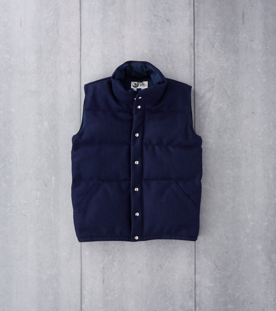Crescent Down Works Italian Vest - Pendleton® Melton Wool - Navy Division Road