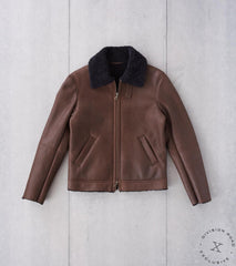 Division Road Cromford Leather x DR Shearling Flight Bomber Jacket - Hurricane Espresso