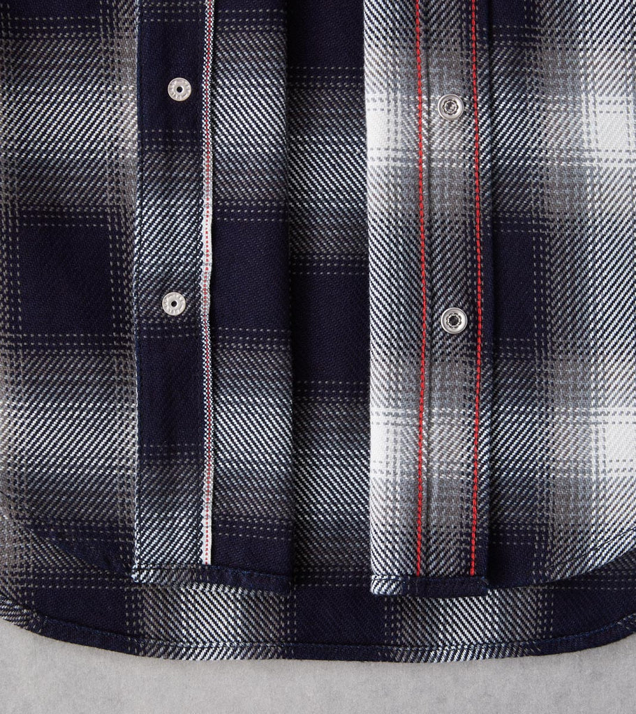 Division Road Iron Heart 276-IND - Western - 9oz Selvedge Flannel Ombre Check Indigo