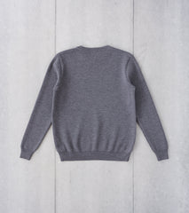 Division Road De Bonne Facture Merino Wool Milano Crewneck Knit Sweater - Heathered Grey