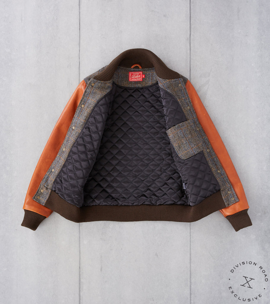 Division Road Dehen 1920 x DR Varsity Jacket - Harris Tweed Herringbone Plaid & Whiskey Leather