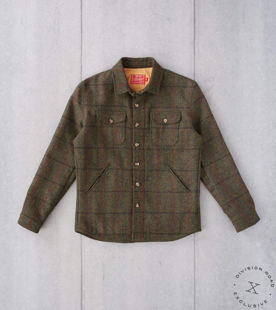 Division Road Dehen 1920 x DR Crissman Overshirt - Harris Tweed Check - Forest Green