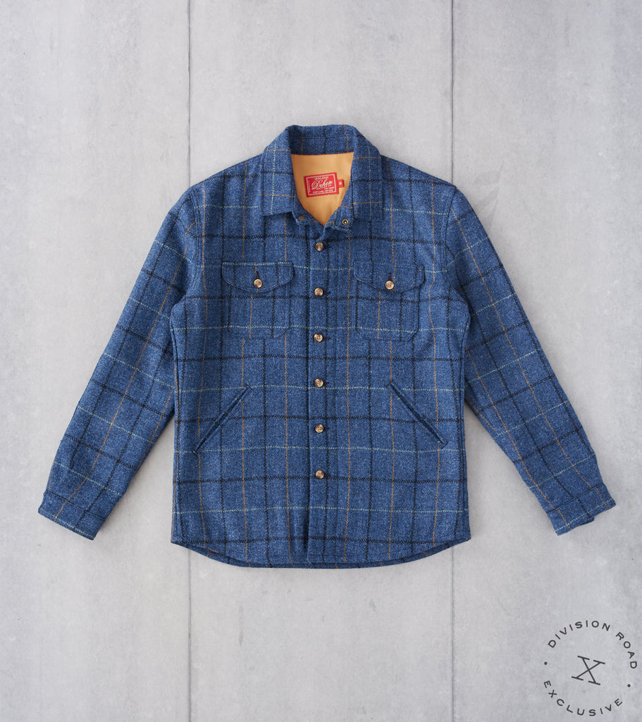 Division Road Dehen 1920 x DR Crissman Overshirt - Harris Tweed Check - Ridgeline Blue