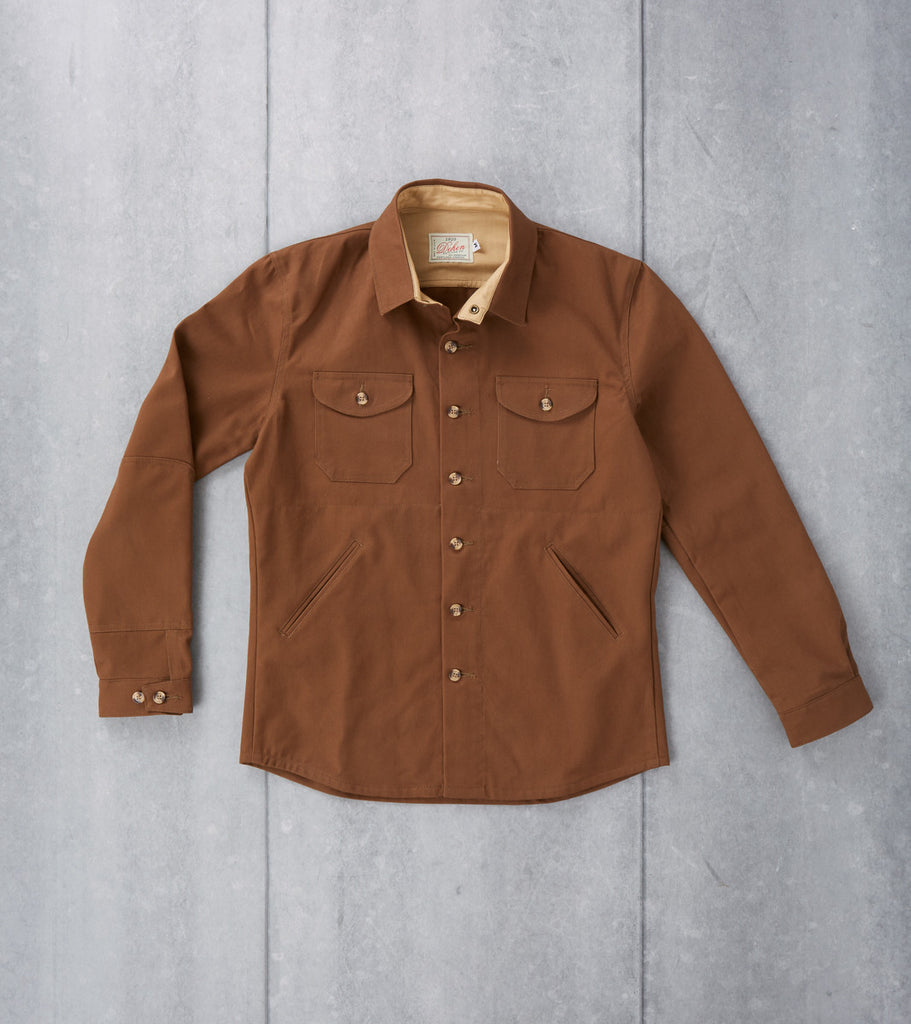 Dehen 1920 Crissman Overshirt Brushed Bull Denim Twill Oak Brown Division Road Jacket Shacket