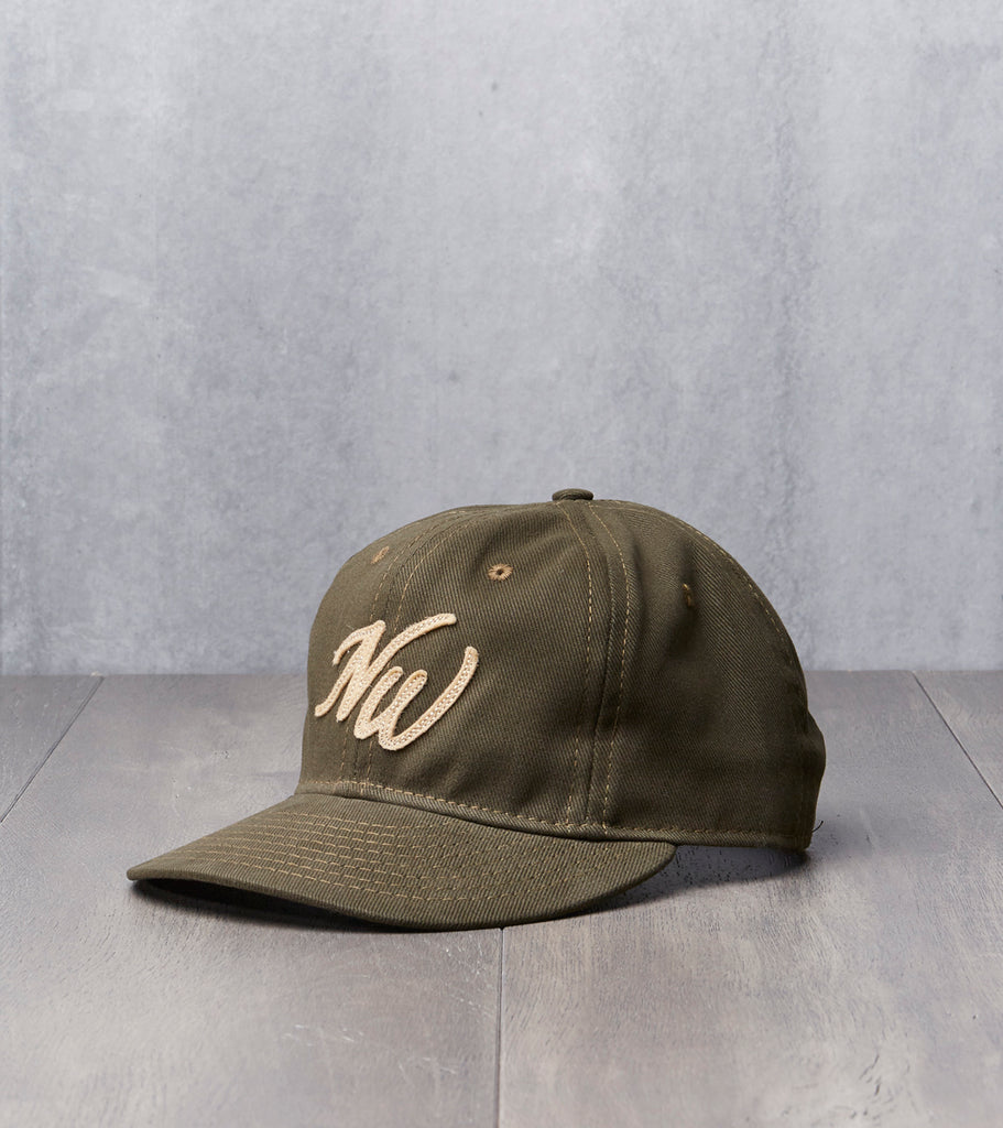 Ebbets Field x Division Road NW Cap - Fitted - Olive Bull Denim Twill