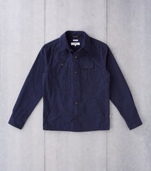 Freemans Sporting Club Camp Overshirt - 7oz Moleskin - Navy Division Road