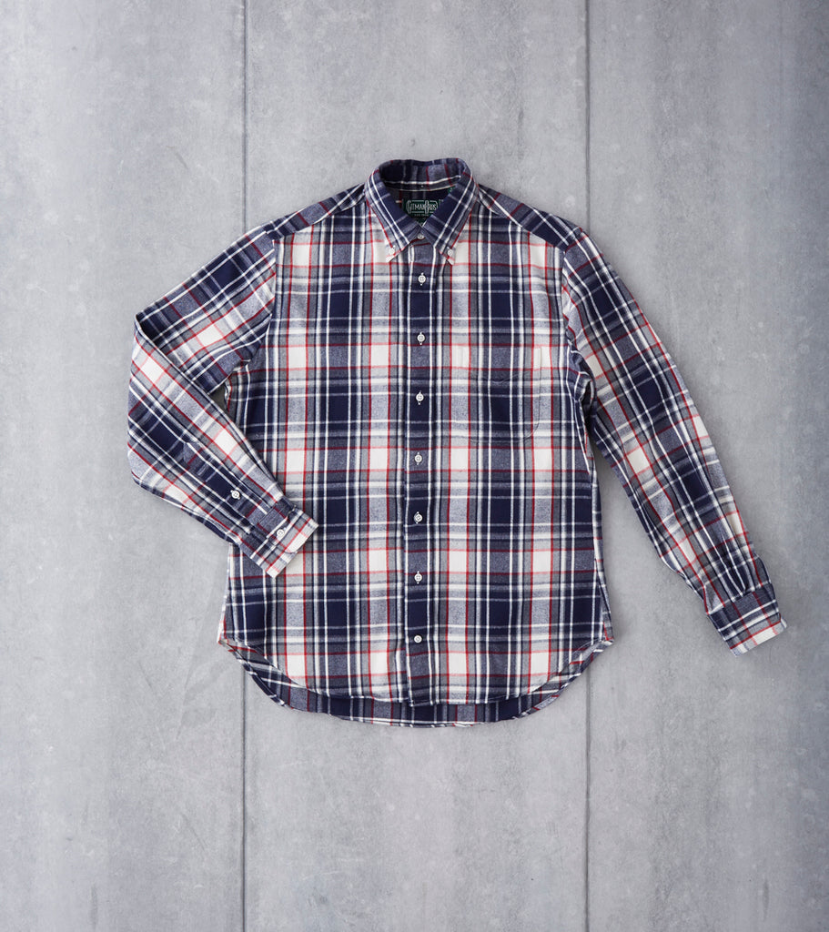 Gitman Vintage Japanese Plaid Flannel - Navy & White Division Road Shirt Button Up
