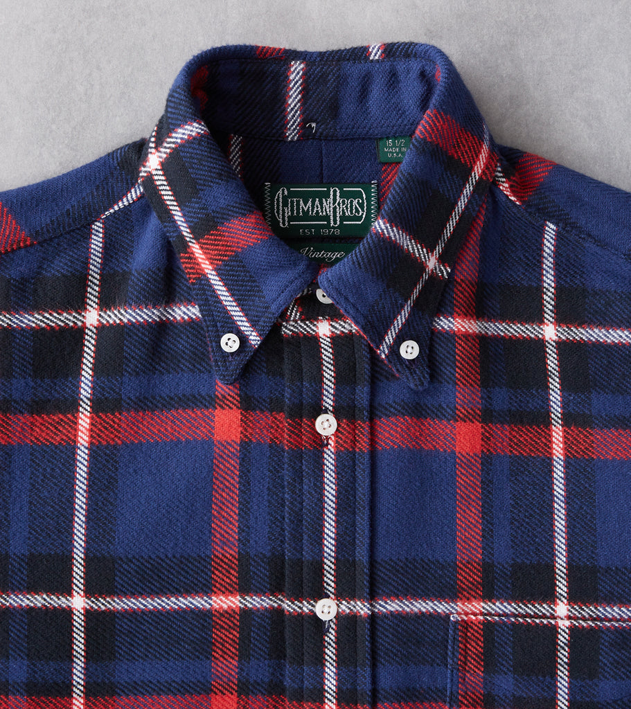 Division Road Gitman Vintage Japanese Rough Check Flannel - Blue