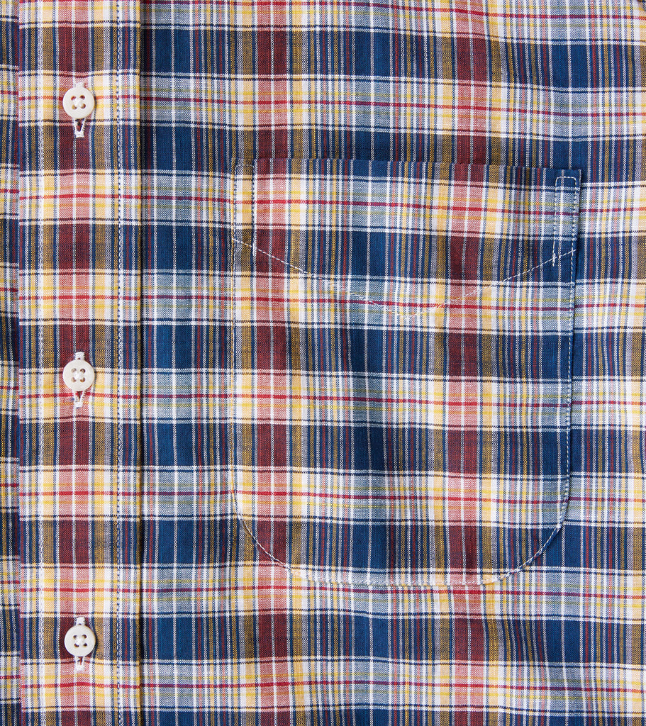 Gitman Vintage x DR Slub Poplin Grid Plaid - Navy & Red Division Road