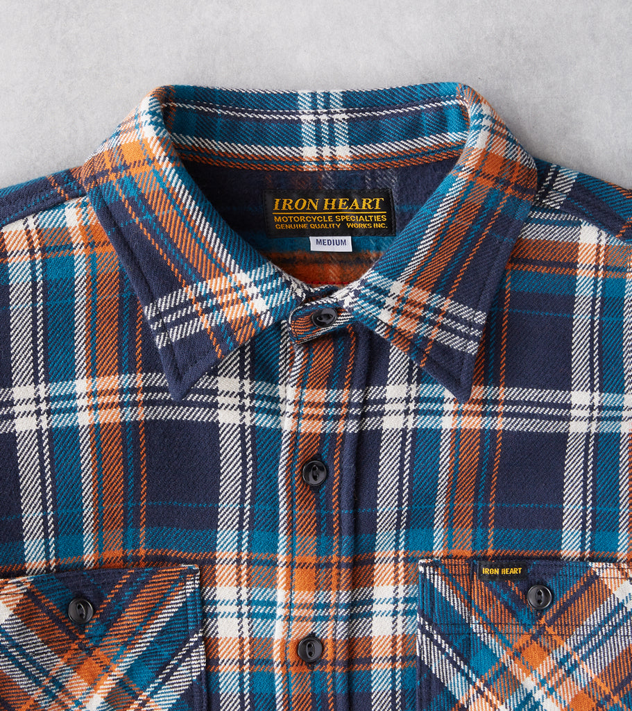 Division Road Iron Heart 263-NAV - Work Shirt - 12oz Ultra Heavy Flannel Crazy Check Navy