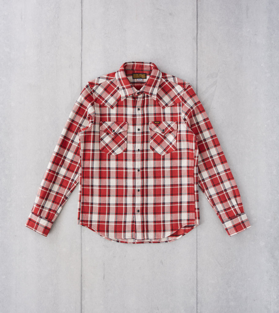 Division Road Iron Heart 259-RED - Western - 12oz Ultra Heavy Flannel Small Block Check Red