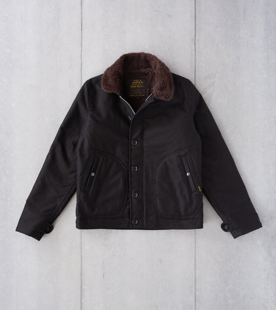 Division Road Iron Heart 32-BLK - N1 Deck Jacket - 11oz Superblack Whipcord & Alpaca Lined