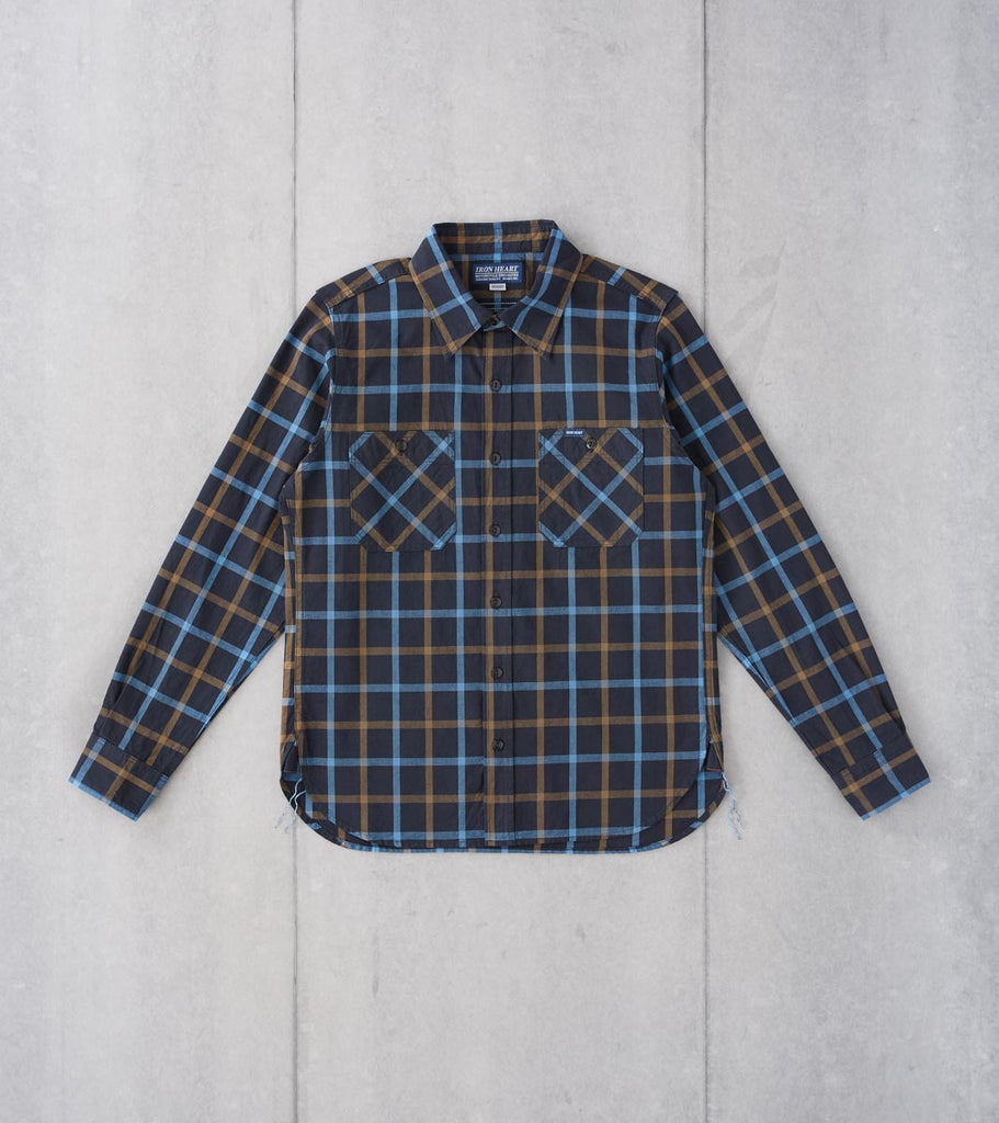 Division Road Iron Heart 281-BLK - Work Shirt - 5oz Selvedge Madras Tattersall Check Black