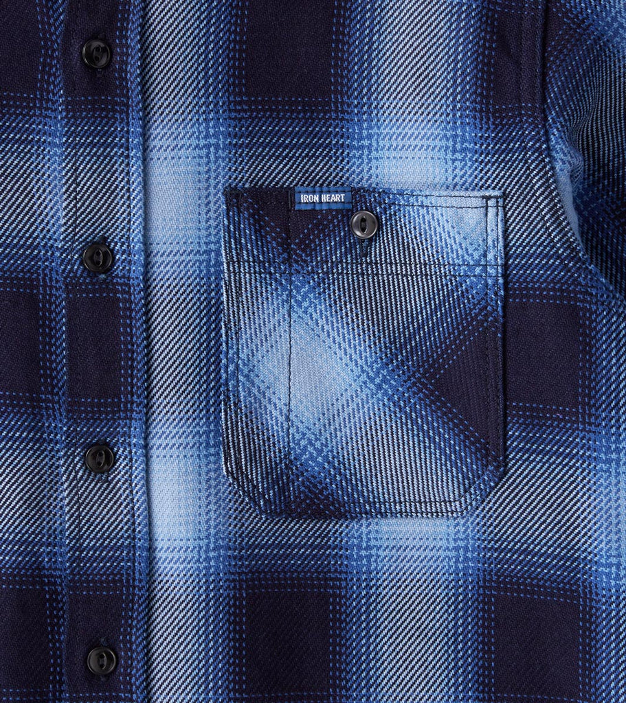 Division Road Iron Heart 277-IND - Work Shirt - 9oz Selvedge Flannel Ombre Check Indigo