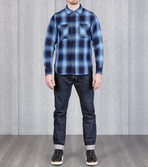 277-IND - Work Shirt - 9oz Selvedge Flannel Ombre Check Indigo