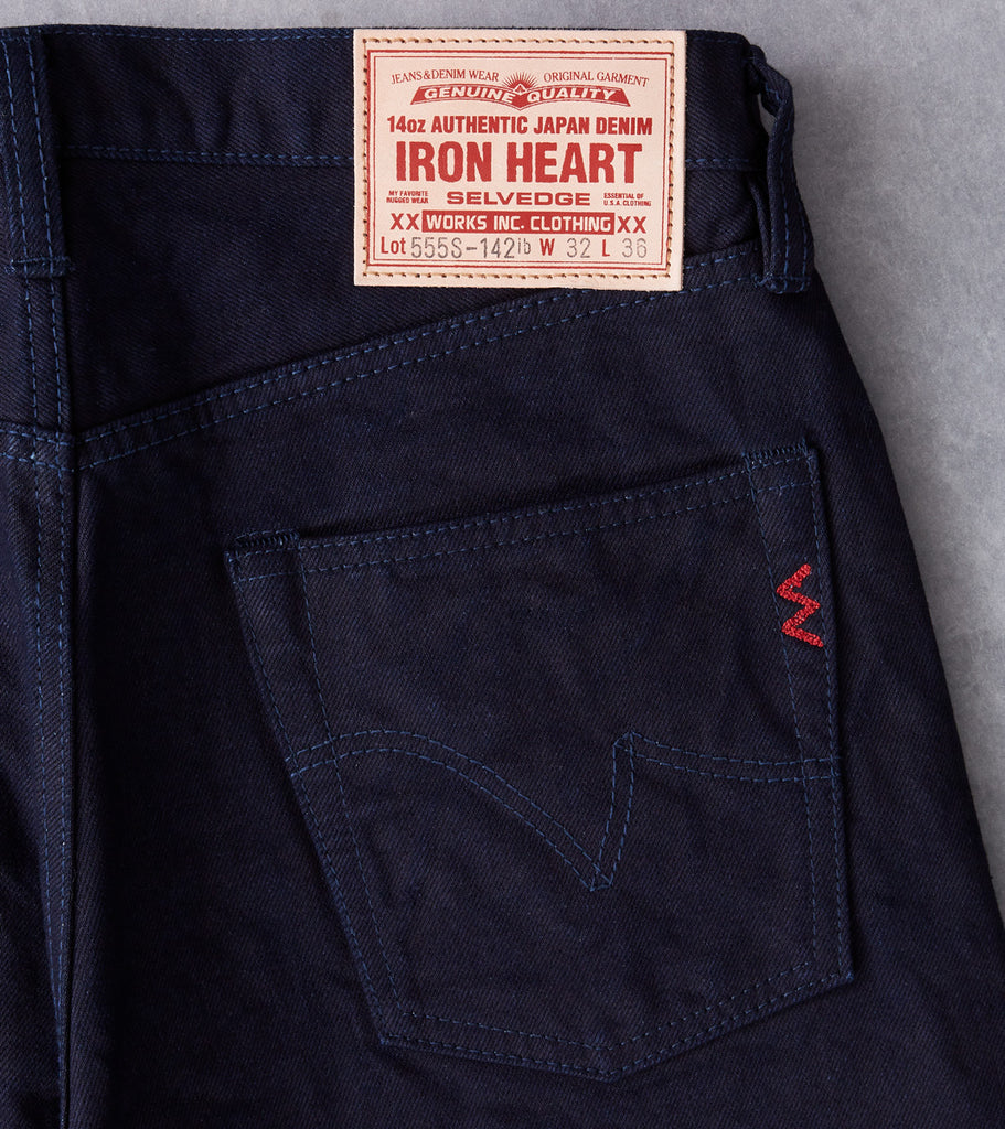 Iron Heart 555S-142ib - Super Slim - 14oz Indigo x Black Division Road