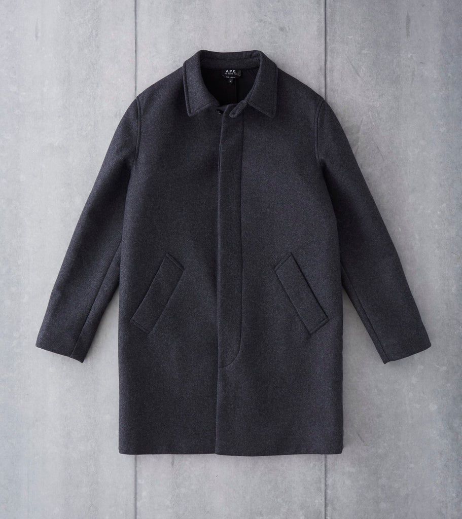 A.P.C. New England Mac - Heather Charcoal Division Road Wool Bonded Coat