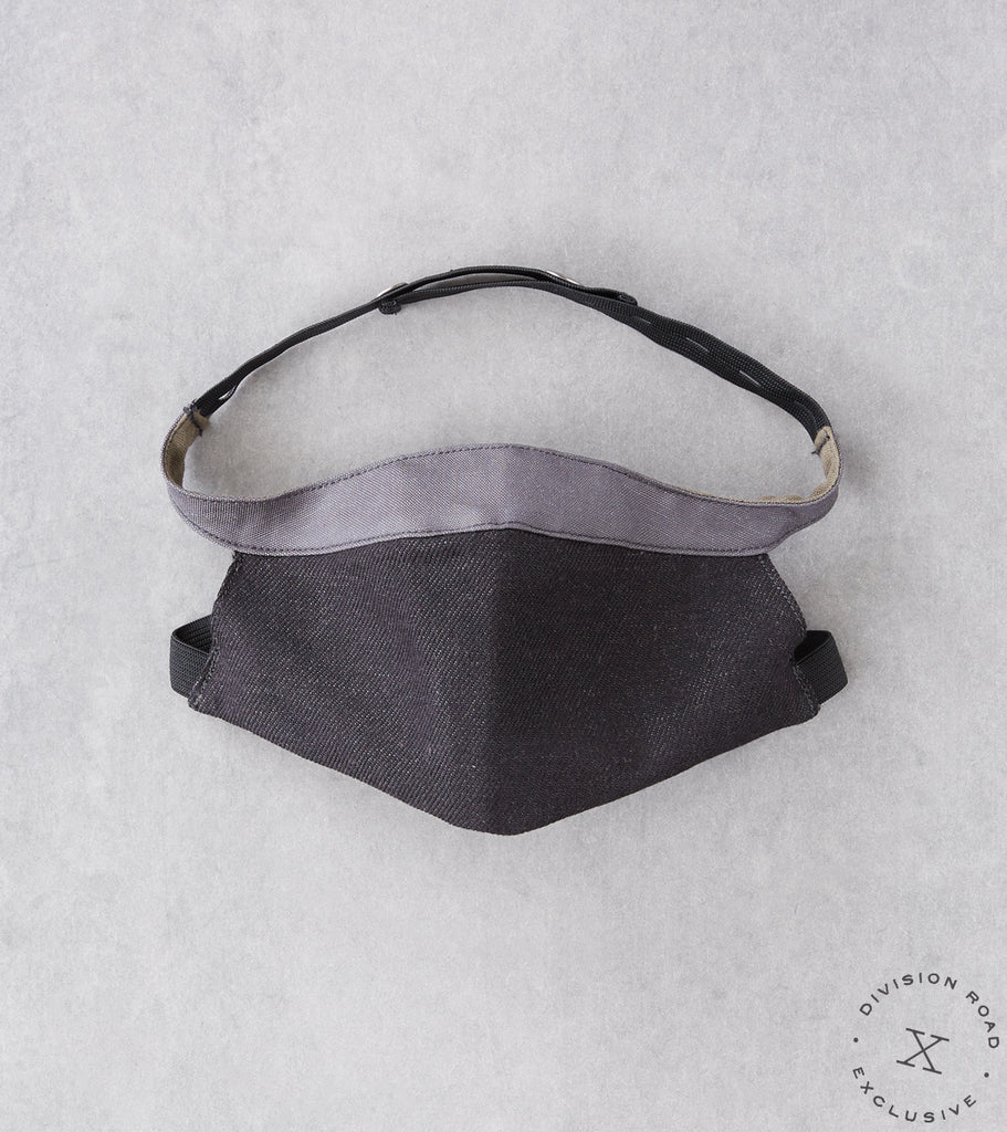 MotivMfg x Division Road ODU Face Mask - Japanese Black Washed Twill & Grey Coated Canvas