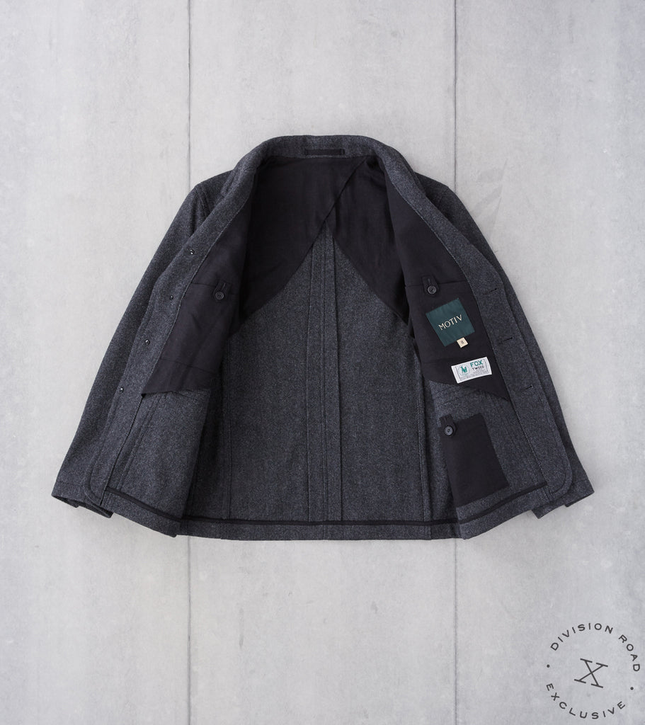 Division Road MotivMfg x DR English Hunt Work Jacket - Fox Brothers® Charcoal Exmoor Herringbone