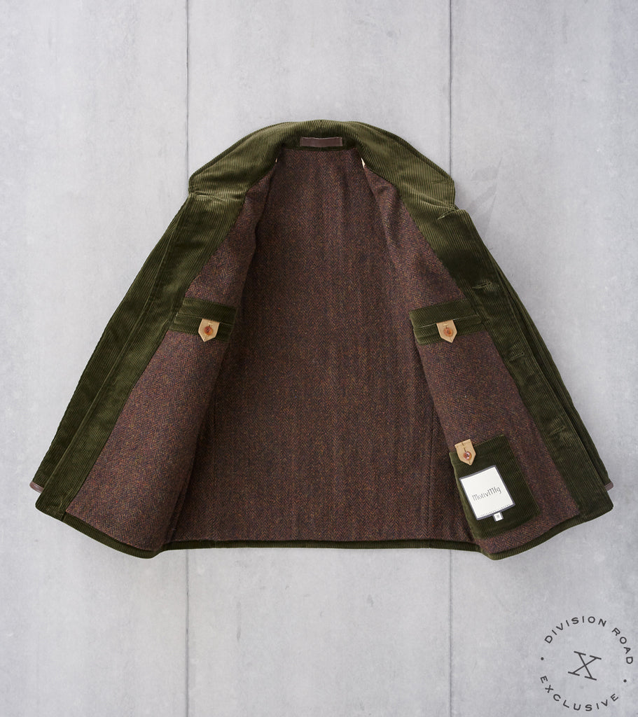 Division Road MotivMfg x DR French Hunting Jacket - B.Moss Forest Corduroy