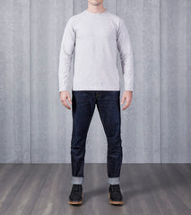 wings+horns Stretch Cotton Crewneck - Light Heather Grey Division Road