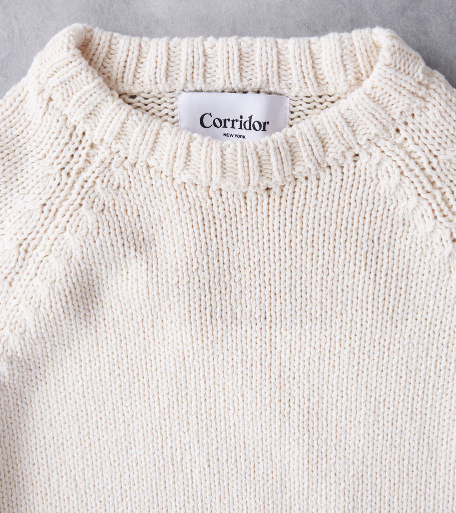 Corridor NYC Cotton Crewneck Sweater - Natural Ivory Division Road