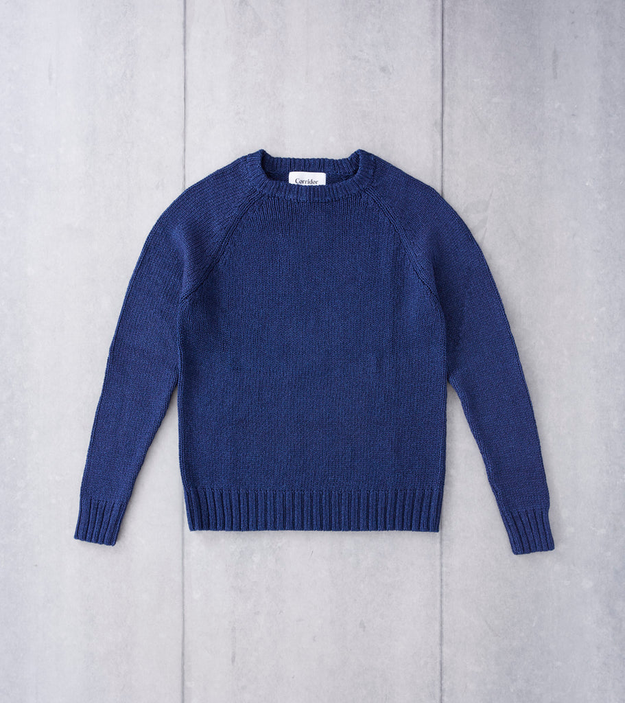 Corridor NYC Cotton Crewneck Sweater - Rinsed Indigo Division Road