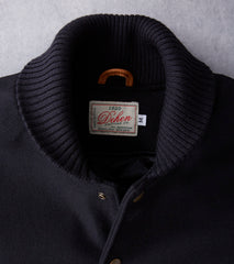 Dehen 1920 Varsity Jacket - Black Pendleton® Melton & Rust Leather Division Road