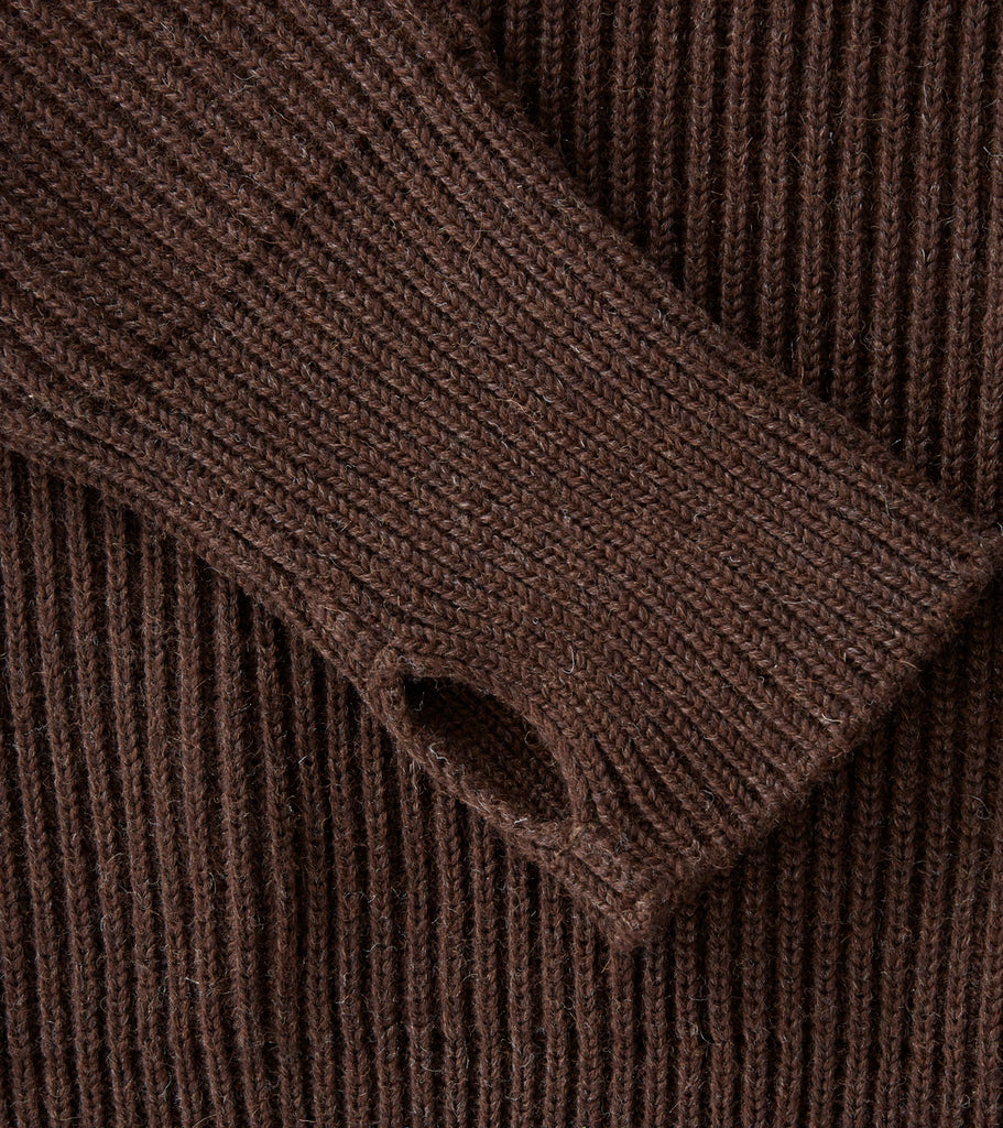 Andersen-Andersen Navy Half Zip Sweater - Natural Brown Division Road