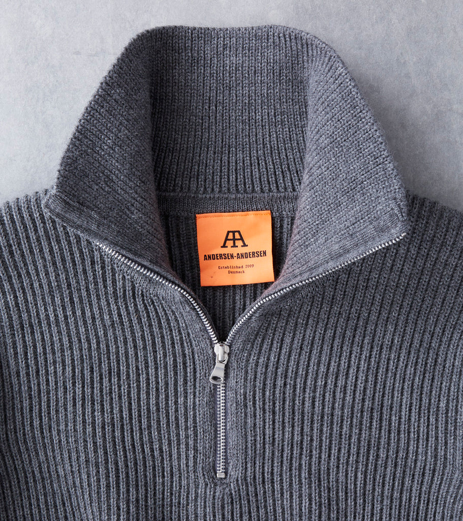Andersen-Andersen Navy Half Zip Sweater - Grey Division Road