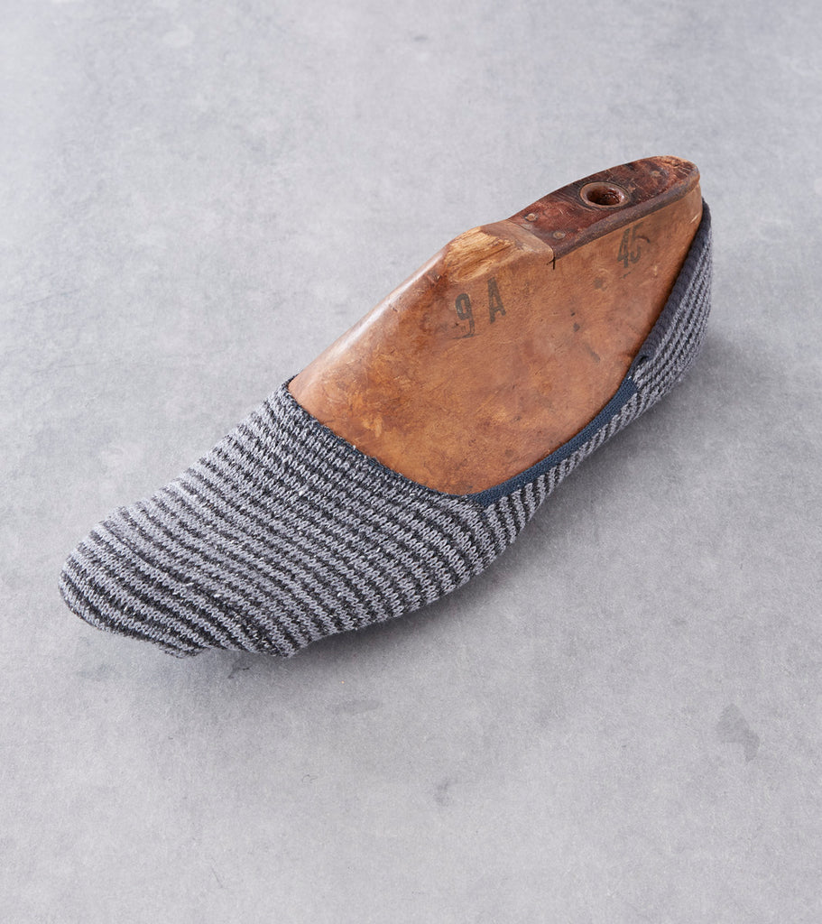 Anonymous Ism Nep Stripe Loafer Sock - Charcoal Division Road