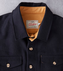 Dehen 1920 Crissman Overshirt - Melton Wool - Black Division Road