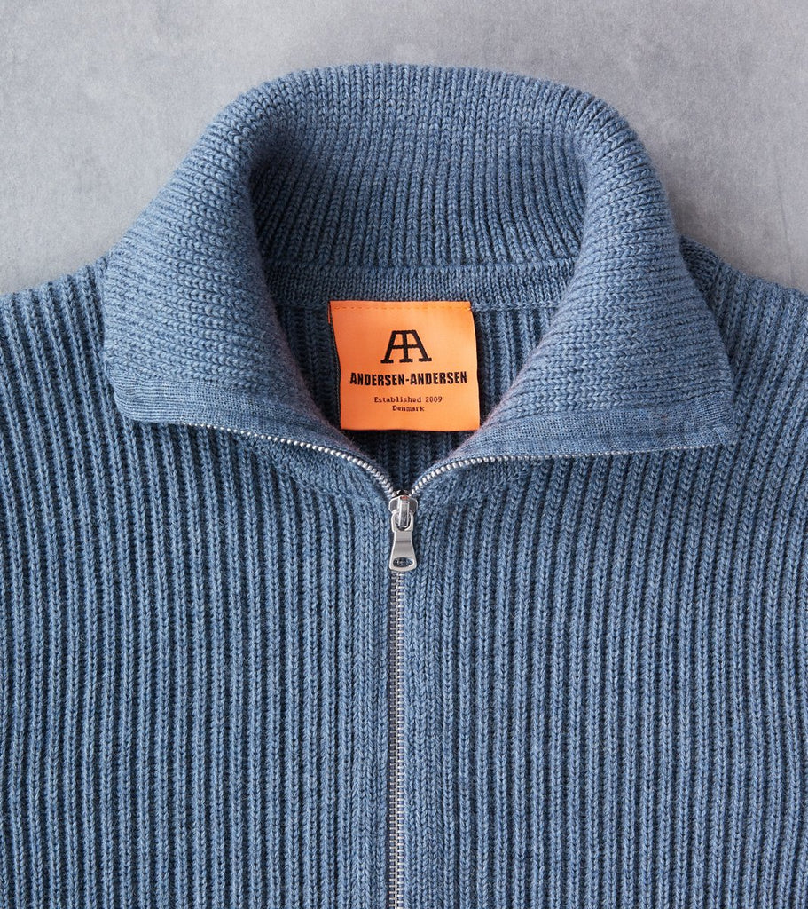 Andersen-Andersen Navy Full Zip Pocket Sweater - Light Indigo Division Road