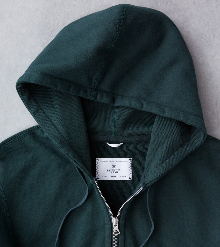 Reigning Champ Full Zip Hoodie - Forest Division Road