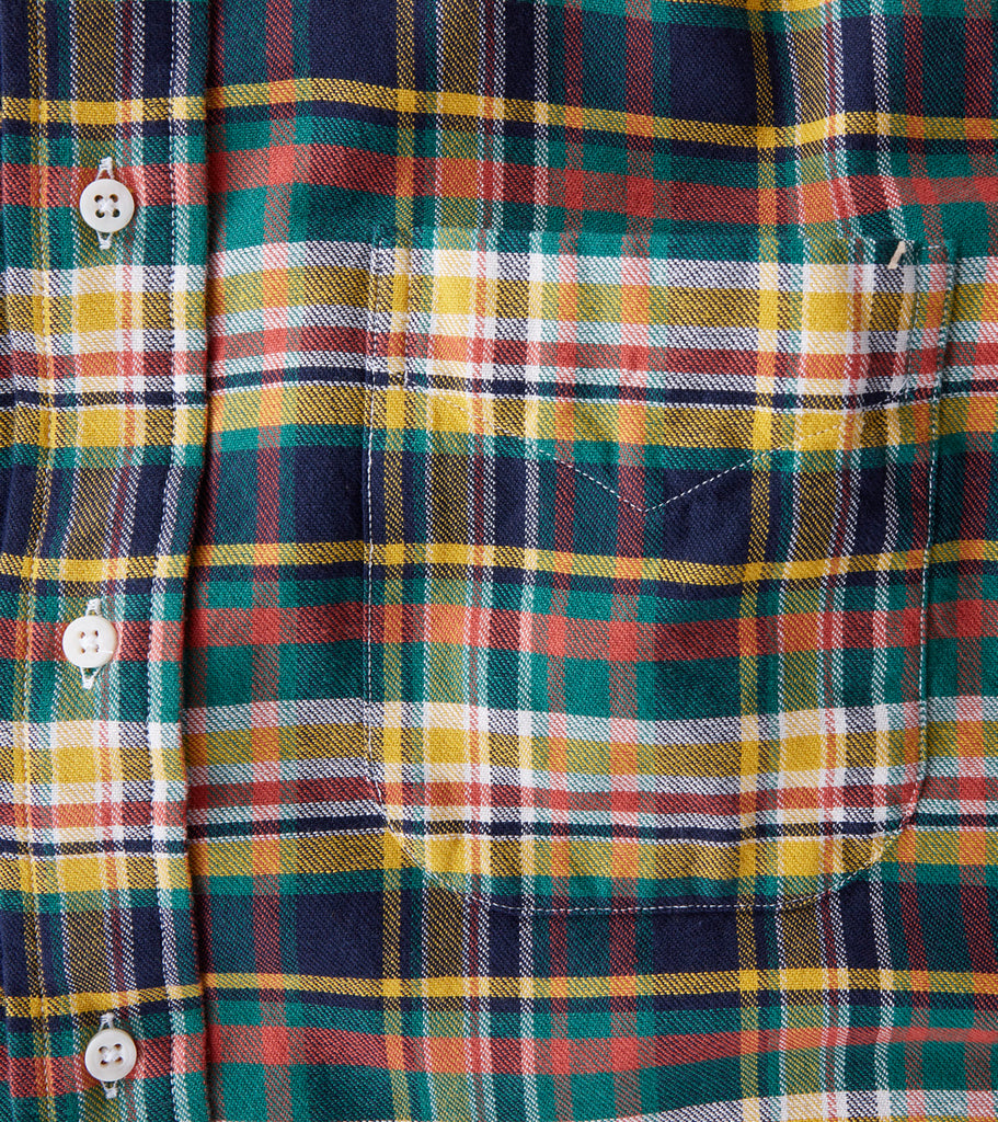Gitman Vintage Hunter Reverse Plaid Flannel - Yellow & Blue Division Road