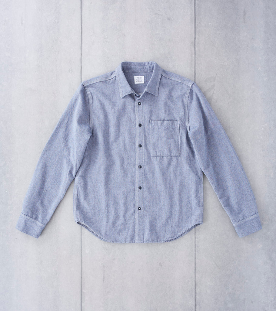 Home Work Yarn Dye Herringbone Overshirt - Navy Division Road
