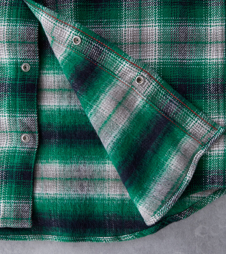 Iron Heart 206-GRN - Western - 12oz Ultra Heavy Flannel Plaid Division Road