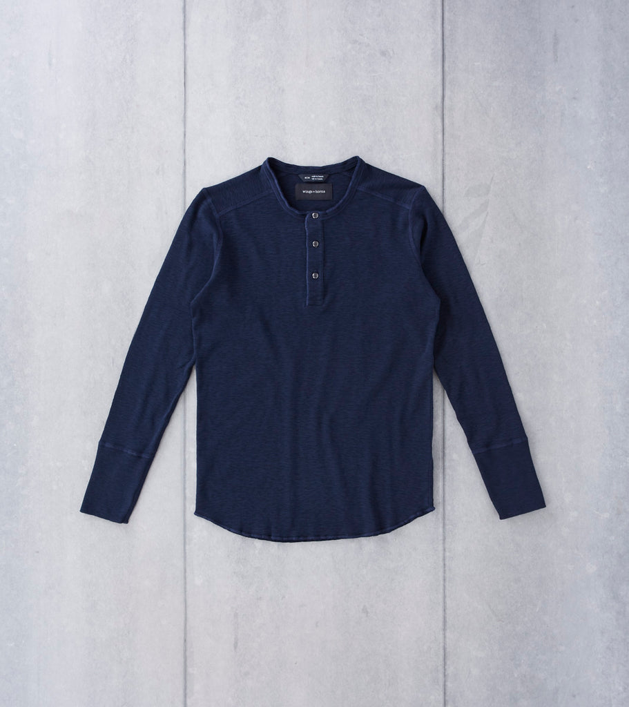 wings+horns Base 1x1 Slub Long Sleeve Henley - Navy Division Road