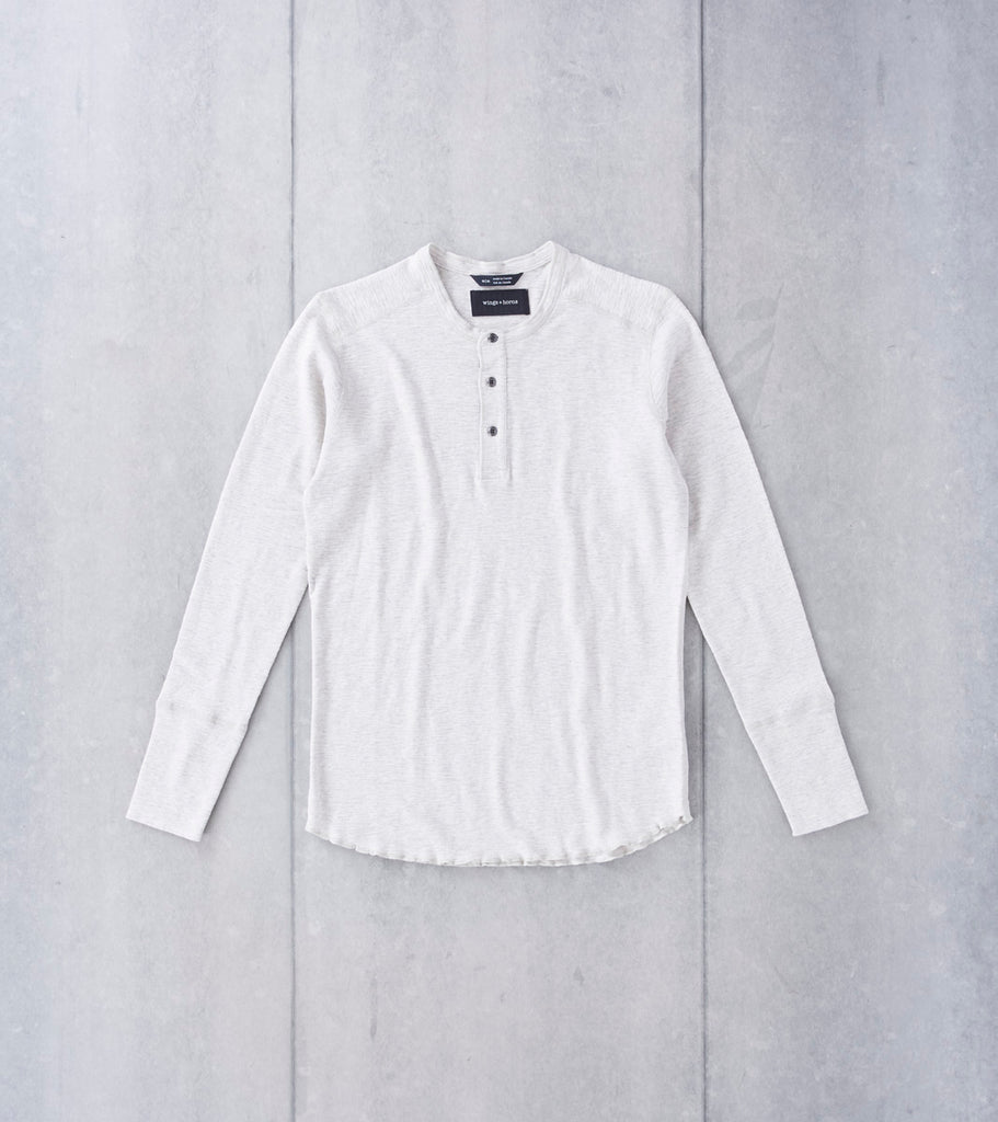 wings+horns Base 1x1 Slub Long Sleeve Henley - Heather Ash Division Road