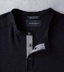 wings+horns Base 1x1 Slub Long Sleeve Henley - Black Division Road