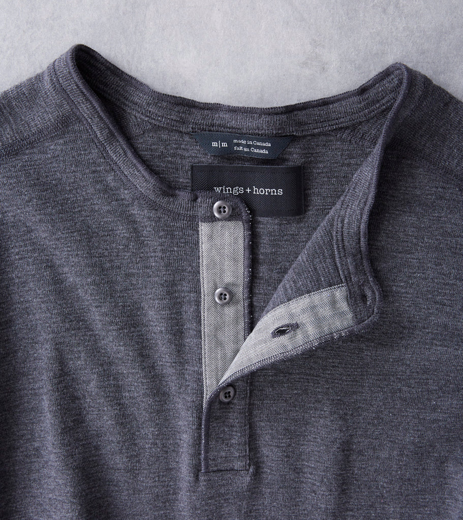 wings+horns Base 1x1 Slub Long Sleeve Henley - Heather Charcoal Division Road
