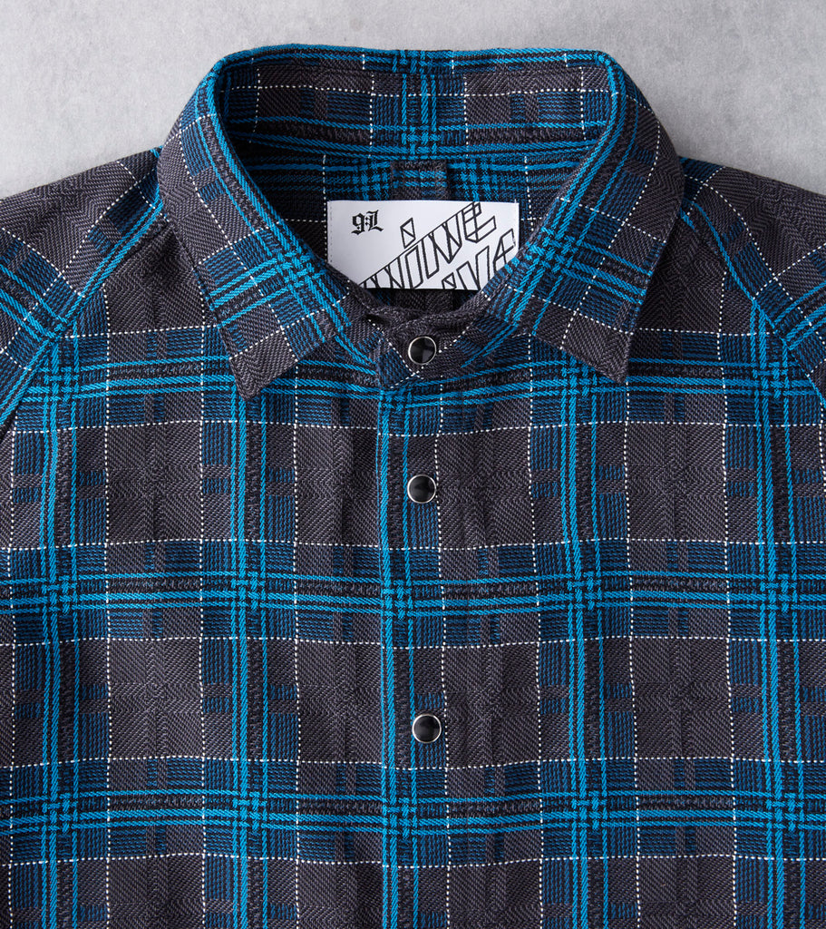 Nine Lives Short Circuit Jacquard Check - Charcoal & Blue - Division Road